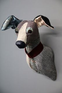 I recently posted some amazing fabric animal heads by Desaccord and have again stumbled across some more by Carola Van Dyke at Rocket St Geo. Textiles, Toy Fox Terriers, Rockett St George, Fabric Animals, Faux Taxidermy, Art Textile, Italian Greyhound, Greyhound Art, Animal Heads