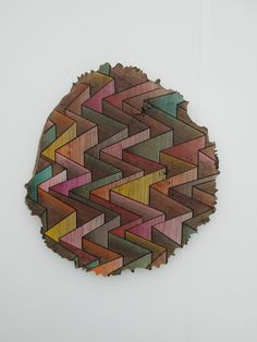 """""""Inspired by the way nature builds"""" Jason Middlebrook, 2014, acrylic on walnut"""