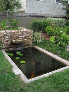 étang de jardin moderne de design enterré bénéficiant d'une petite fontaine en pierre naturelle, des plantes aquatiques et des carpes koï