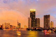 Таиланд Небоскребы Реки Дома Бангкок Ночь Города