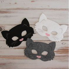 Gato  máscara de fieltro  Kitty  gris blanco por AnnsCraftHouse