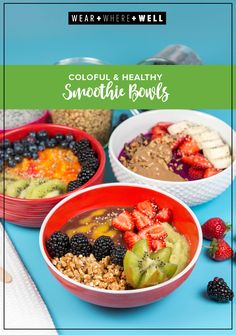 Colorful healthy smoothie bowls with acai and dragon fruit