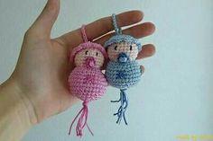 "Crochet keychain babies ""made by Mriek: Baby's! Crochet Cross, Cute Crochet, Crochet For Kids, Crochet Baby, Knit Crochet, Crochet Waffle Stitch, Crochet Stitches, Crochet Patterns, Crochet Gifts"