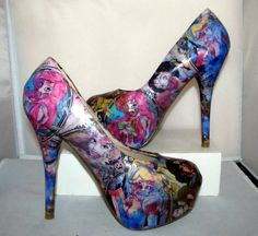 Zombie Disney Princesses High Heels  Made to by custombykylee, $70.00 - These are AWESOME