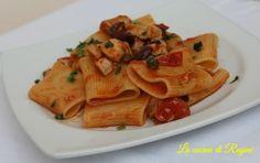 Paccheri pesce spada, capperi e olive nere, un primo piatto di pesce che racchiude i sapori del mediterraneo, facile e veloce da realizzare