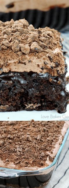 This Death by Chocolate Poke Cake from Love Bakes Good Cakes is the perfect go-to recipe when you want something chocolaty and sinfully delicious. This recipe is seriously a chocolate lovers dream come true. It has chocolate, on chocolate, on chocolate, on chocolate!!!
