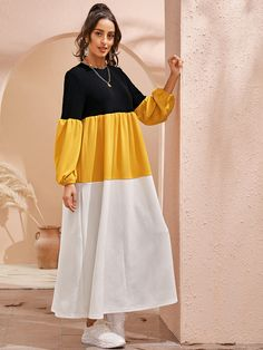 Multicolor Casual Long Sleeve Polyester Colorblock Smock High Stretch Spring/Fall Dresses, size features are:Bust: ,Length: ,Sleeve Length:Long Sleeve Modest Fashion Hijab, Modesty Fashion, Abaya Fashion, Muslim Fashion, Fashion Dresses, Stylish Dresses For Girls, Stylish Dress Designs, Designs For Dresses, Simple Dresses