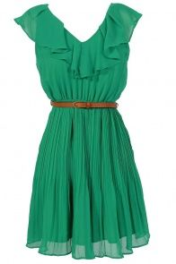 Lily Boutique - Katrina Ruffle Contrast Belted Dress in Jade - SUPER cute dresses for a good price.  Loving this site!