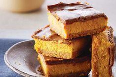 Pumpkin and chocolate cheesecake bars