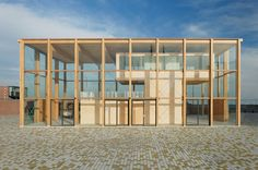 Gallery of Harbour Building Amsterdam / Margulis Moormann Architects - 1 Architecture Design, Public Architecture, Wooden Sliding Doors, Roof Beam, Big Building, Timber Structure, Amsterdam City, Ground Floor Plan, Wood Construction