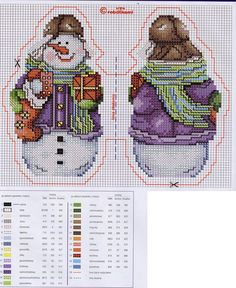 Snowman with Gifts Cross Stitch Stocking, Xmas Cross Stitch, Cross Stitch Bookmarks, Beaded Cross Stitch, Cross Stitch Alphabet, Counted Cross Stitch Patterns, Cross Stitch Designs, Cross Stitching, Cross Stitch Embroidery