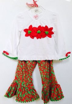 New Mud Pie Girls Leopard Poinsettia 2 Piece Pant Set 2T/3T #MudPie #DressyHoliday