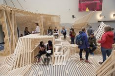 Architecture students' Dunescape-inspired design-build project transforms Iowa State University College of Design atrium | Photo by Christopher Gannon/Iowa State University | Archinect