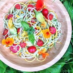 Zucchini squash tomatoes cucumbers spaghetti supreme w/basil dressing