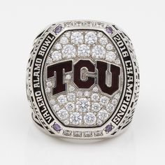 Real Handmade Platinum plated TCU Horned Frogs 2016 Alamo Bowl (January) Championship Ring with several little round purple crystals, hundreds of sparkling clear cubic zirconias and black enamel. It is a special meaningful gift to your TCU Horned Frog Championship Football, Championship Rings, American College Football, Football Bowl Games, College Rings, Grey Cup, Meaningful Gifts, Frogs, Jewelry Design