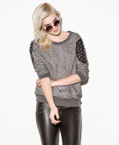 Studded Shoulder Patch Pullover  #capsule2point1 #webexclusive