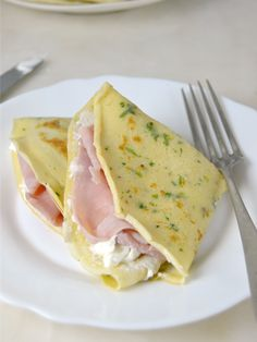 How to make salty crepes to fill - recetas - Pancakes, Waffles, Crepe Recipes, Desert Recipes, Eating Plans, Nutritious Meals, Food Items, Breakfast Recipes, Ham Breakfast