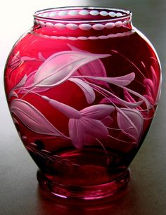 Floral Cranberry Vase hand engraved glass by Catherine Miller of Catherine Miller Designs*Technique-Stone wheel * 6 inch vase by Louie Glass Co
