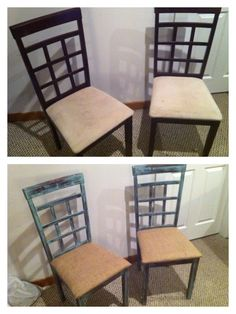 Pair of chairs painted, distressed and seats covered in burlap.
