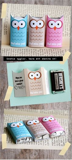 Owl candy bar covers for end of school.  Ready to print!