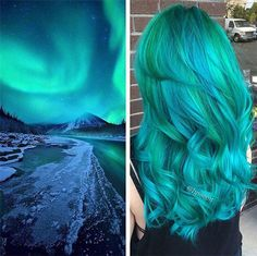 Lake blue wavy hairstyle, mystic Galaxy Hair Color~