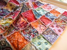 THE UNION  Modern rag quilt patchwork crib blanket by thetrunkshow, $124.95