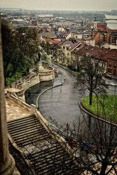 Castle hill in rain - Budapest, Hungary  This is where we used to run around in PE lessons. What a different angle. :)