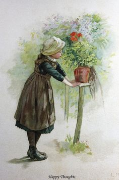 Children,Antique,Prints-Lizzie Lawson Mack/ Happy Thoughts/ Nister Chromo 1880  #Vintage123yearsold