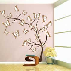 Butterfly Tree Wall Decal - Tree Wall Decal Murals - Primedecals