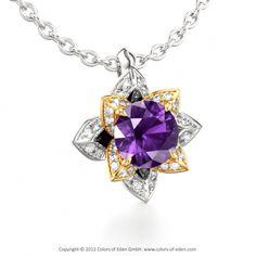 "Amethyst Lotus Flower Pendant with Diamonds - ""Midsummer Night's Dream"""