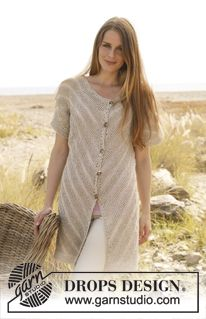 """Knitted DROPS vest worked diagonally in """"Bomull-Lin"""" or """"Paris"""" and """"Lace"""". Size: S - XXXL. ~ DROPS Design"""