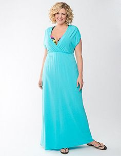 Cap sleeve swim cover up offers soft knit comfort that's perfect for the beach or pool, and stylish enough for lunch with the girls afterward. Flattering surplice neckline and seamed empire waist make the most of your shape. lanebryant.com