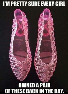 These are a totally awesome pair of size vintage, clear pink Jelly Shoes from the They are plastic/rubber. 1980s Childhood, My Childhood Memories, 1980s Toys, Jelly Shoes, Jelly Sandals, 90s Nostalgia, 80s Kids, Ol Days, Sweet Memories