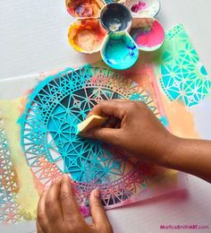 Graphitti style backgrounds for art projects using acrylic paint. Art Journaling with StencilGirl Stencils. Kunstjournal Inspiration, Art Journal Inspiration, Art For Kids, Crafts For Kids, Arts And Crafts, Adult Crafts, Craft Robo, Make Your Own Stencils, Making Stencils