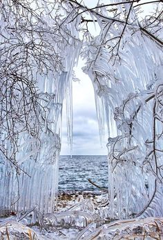 Ice walls near Lake Baikal, Siberia