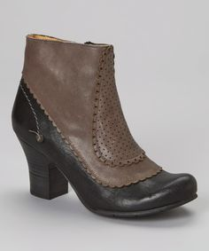 Another great find on #zulily! Black & Anthracite Leather Ankle Boot by Gold Button #zulilyfinds