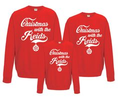 Customized Family Christmas sweatshirts, Christmas jumpers.    After purchasing let us know what sizes you want.     Also We can put any other text you want.        We use superior quality All we do is Hoodies sweat shirts.    •	Crew neck sweat   •	Set in sleeves   •	Taped neck   •	Stylish fit   •	Twin needle stitching detailing   •	Ribbed collar, cuff and hem   •	Worldwide Responsible Accredited Production (WRAP) certified production    Kids sizes:     Size(Age(yrs) )                  XS(…