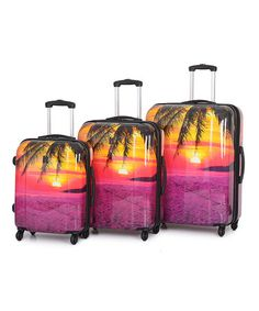 Another great find on #zulily! Sunset Spinner Luggage Set #zulilyfinds
