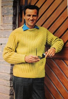 Men's Continental Design Sweater - 1960's Mad Men Hipster style - Vintage Knitting Pattern