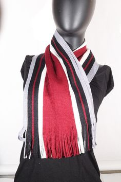 Cashmere blend stripped (deep red, white, black and grey) Scarf