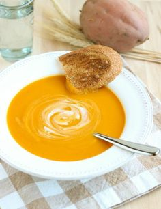 Butternut Squash Sweet Potato Soup- so creamy and satisfying, you'd never guess it was dairy-free! #glutenfree #cleaneating #plantbased