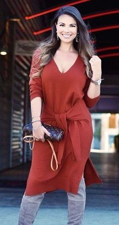 #pretty #winter #outfits /  Red V-neck Dress // Grey OTK Boots