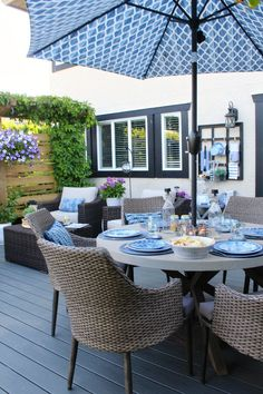 Divide your patio into functional zones to optimize the space. ideas decorating Outdoor Living - Summer Patio Decorating Ideas - Clean and Scentsible Parasols, Patio Umbrellas, Patio Table Umbrella, Patio Decorating Ideas On A Budget, Decor Ideas, Summer Decorating, Round Patio Table, Patio Tables, Patio Dining Sets