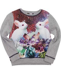 Molo hippe grijze trui met schattige konijntjes. molo.nl.emilea.be
