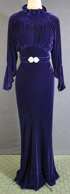 1930s Deco Purple Silk Velvet Bias Cocktail Party Dress Rhinestone Buckle.