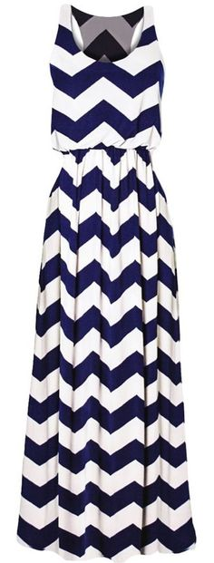 I love how this Maxi dress flows. I would prefer it in all black. Not sure I like the chevron print for a dress.