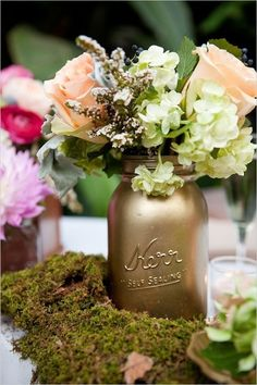 gold and lace mason jars | You can create a very nice green centerpiece décor for the wedding ...