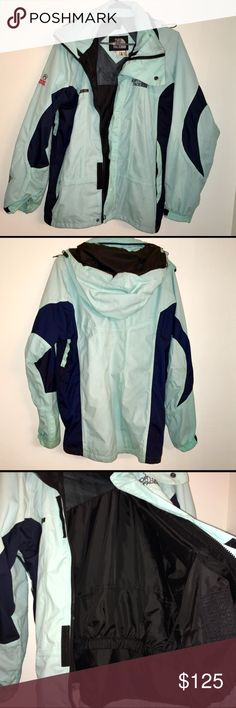 """The North Face Gore-Tex XCR raincoat It is waterproof, breathable and features a seam-sealed construction to shut out moisture and keep you bone dry in harsh backcountry conditions.Great condition! Beautiful light teal/blue and black north face waterproof rain jacket. I bought this used and I believe it is a men's after doing my research. But I am 5""""8 and wear a small/ medium in women's and it fits me great! Only flaws are around the top collar. Make up stains that will come out! Price…"""