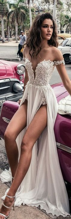 julie vino fall 2018 havana off the shoulder deep plunging sweetheart neckline heavily embellished bodice double slit skirt romantic sexy soft a line wedding dress sweep train mv -- Julie Vino Fall 2018 RECEPTION DRESS dresses tight bodice Pretty Dresses, Sexy Dresses, Beautiful Dresses, Prom Dresses, Formal Dresses, Beautiful Gorgeous, Bridesmaid Dresses, Gorgeous Dress, Dress Prom