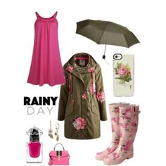pink florals/rainy day